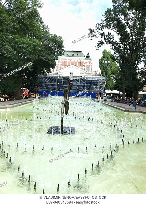 SOFIA, BULGARIA - JULY 01, 2018: The garden in front of the National Theater Ivan Vazov