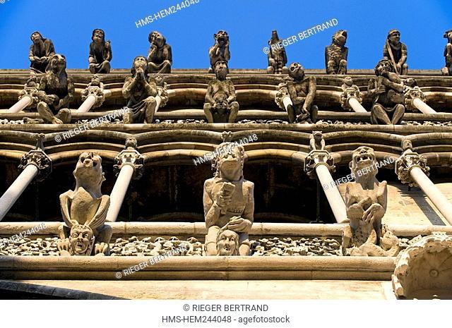 France, Cote d'Or, Dijon, Notre Dame 1230 1250, triple rows of false gargoyles Crane