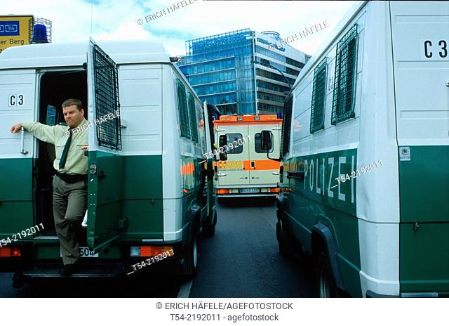Police vans and ambulances when used before the Potsdamer Platz in Berlin