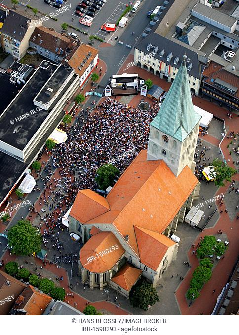 Aerial picture, public screening, Football World Cup 2010, the match Germany vs Australia 4-0 being shown in front of St