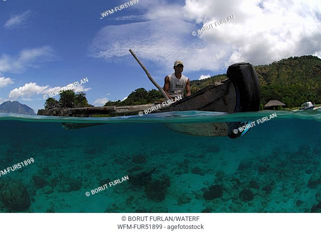 Local Fisherman with Boat, Alor, Lesser Sunda Islands, Indo-Pacific, Indonesia