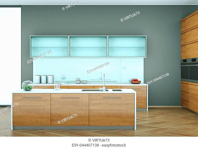 3d Illustration of wooden modern kitchen in a loft with grey wall