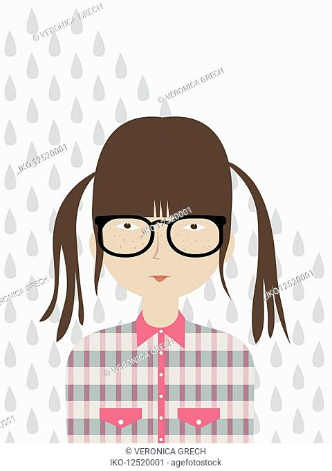 Rain drops falling on serious teenage girl looking at camera