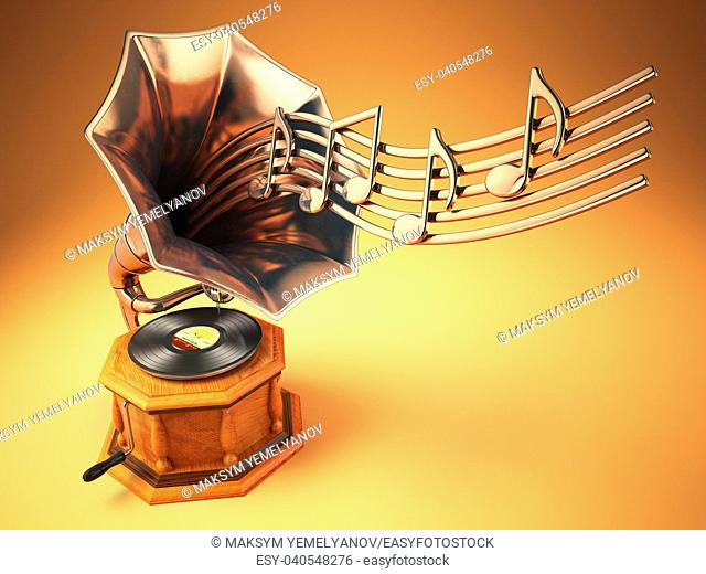 Vintage gramophone with gold musical notes. Retro background. 3d illustration