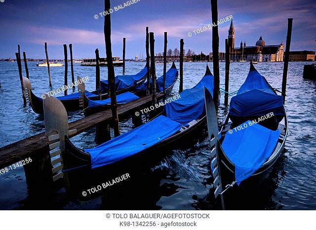 Gondolas in front of San Giorgio Maggiore Venice Veneto Italy