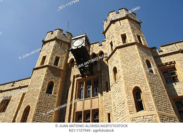 Waterloo Barracks main facade, where the Crown Jewels are kept. Tower of London. East Central London, Great Britain