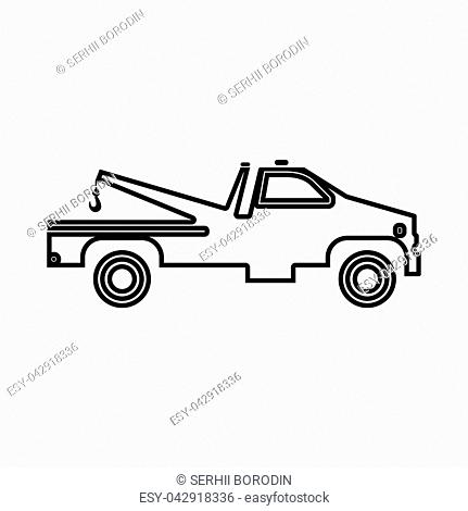 Breakdown truck it is black icon . Flat style