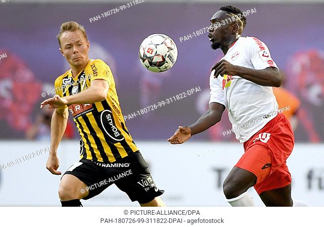 26 July 2018, Germany, Leipzig: Soccer, Europa League - qualifiers, RB Leipzig vs BK Haecken, in Red Bull Arena. Leipzig's Jean-Kevin Augustin (r) and...