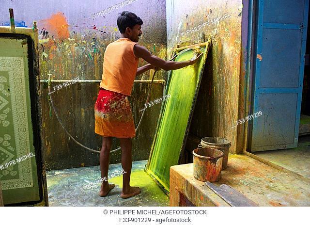 Textile printing, sari manufacturing plant, Rajasthan, India