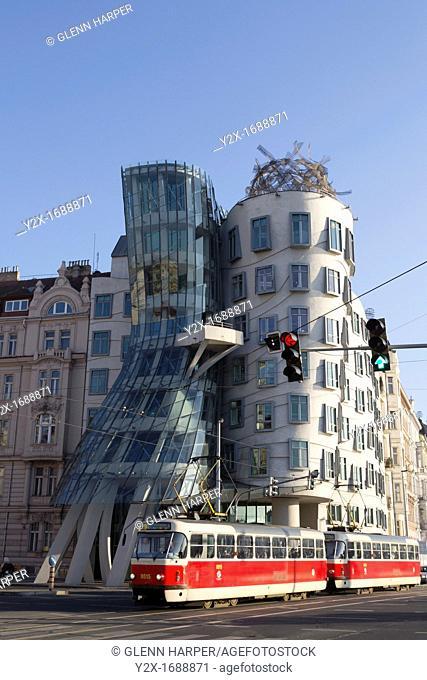 Nationale-Nederlanden building 1996 in Prague, Czech Republic nick-named Fred and Ginger building