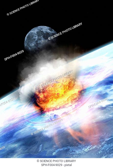 Asteroid impact seen from space, computer artwork