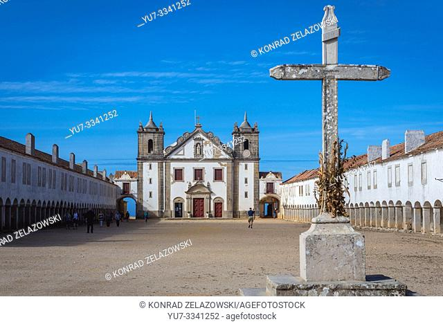 15th century Church and Sanctuary of Nossa Senhora do Cabo on Cabo Espichel cape on the western coast near Seisimbra town in Portugal