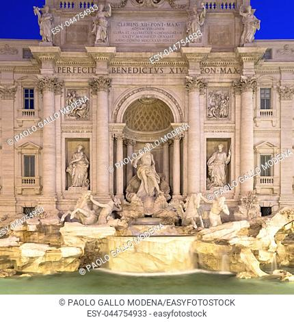 Rome, Italy. Trevi fountain at night, the masterpiece of Italian classical baroque architecture