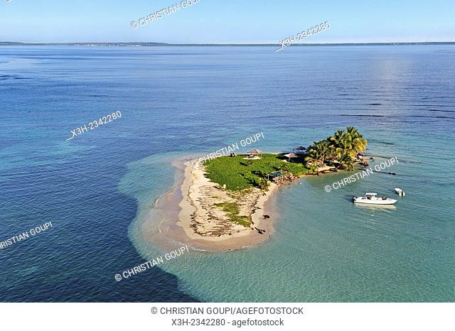 aerial view of Caret Islet, Grand Cul-de-sac Marin, off the coast of Sainte-Rose, Basse-Terre, Guadeloupe, overseas region of France, Leewards Islands