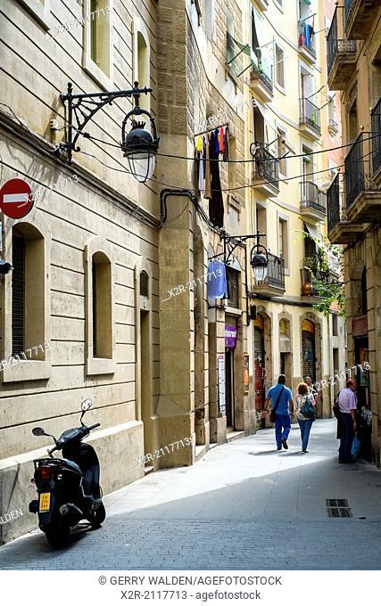Typical side street in the historic part of Barcelona near la Rambla