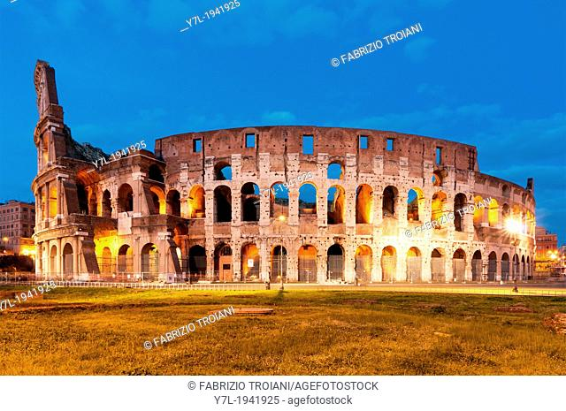 View of the Colosseum at night, Rome Italy