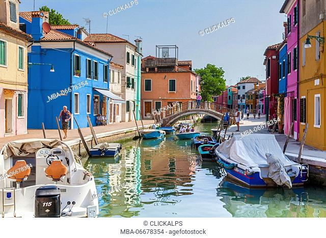 Classic view of the canal and colored houses in Burano. Venice, Veneto, Italy