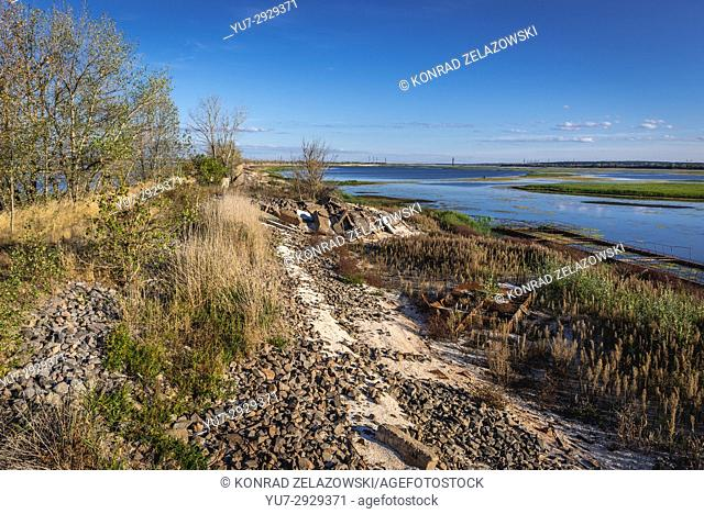 Dyke on cooling lake of Chernobyl Nuclear Power Plant in Zone of Alienation, 30 km radius exclusion area around nuclear reactor disaster in Ukraine
