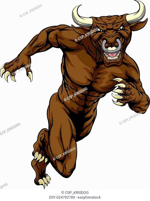 Sprinting bull mascot