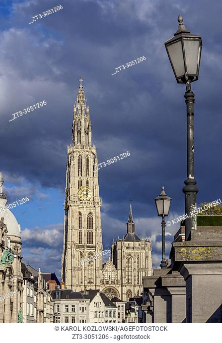 View from Steenplein towards the Cathedral of Our Lady, Antwerp, Belgium