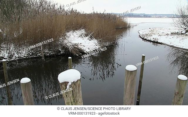 Lake in winter, partly frozen and surrounded by snow. Filmed in Denmark