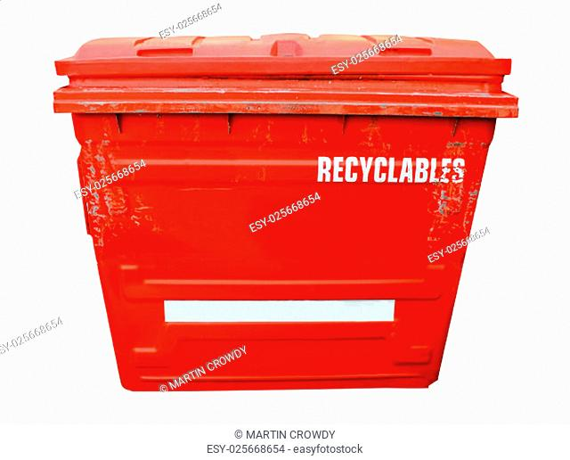 Red industrial recycling bin on a white background