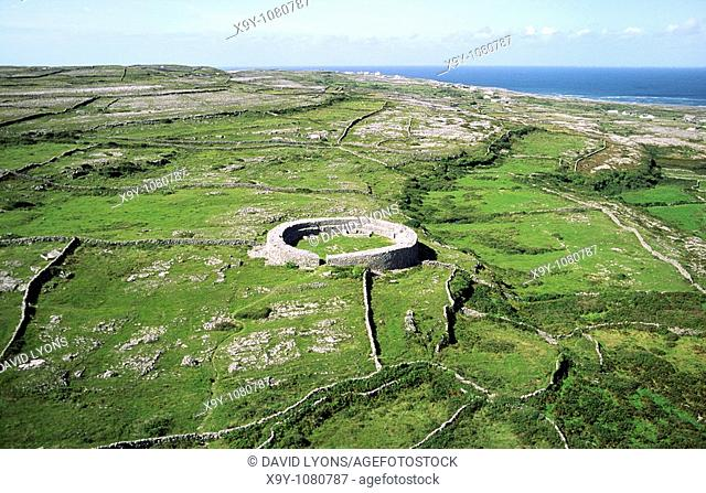 Dun Eoghanachta Bronze Age stone fort cashel in the limestone landscape of Inishmore, largest of the Aran Islands, Galway Bay
