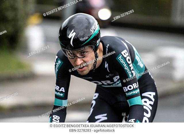 Emanuel Buchmann at Zumarraga, at the first stage of Itzulia, Basque Country Tour. Cycling Time Trial race