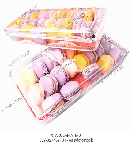 French macaron in a plastic box containers