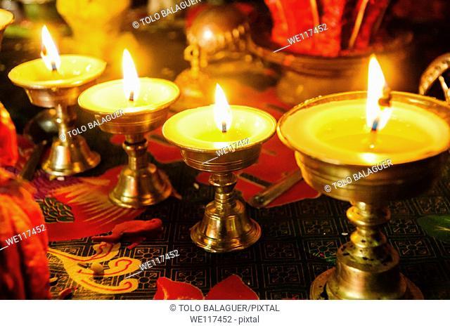 Votive candles Buddhist nunnery, Dengboche Sagarmatha National Park, Khumbu Himal, Nepal, Asia