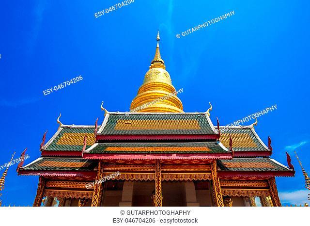 Wat Phrathat Hariphunchai Golden pagoda in Lamphun,Thailand