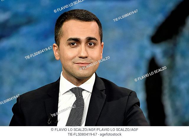 Italian Deputy Prime Minister and Minister of Labor and Industry Luigi Di Maio during the tv show Che tempo che fa, Milan, ITALY-07-04-2019
