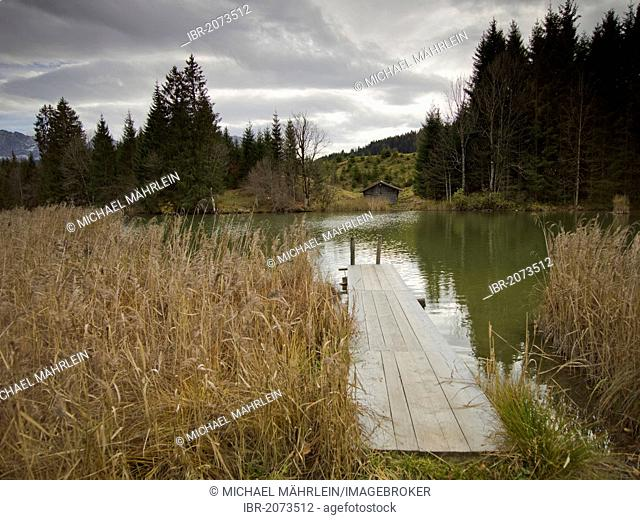 Autumn on Geroldsee Lake, Bavaria, Germany, Europe