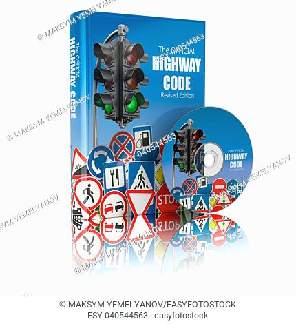Highway code book and disk. Book of traffic rules and law with traffic road sign and traffic light. Preparation for exam or driving test concept