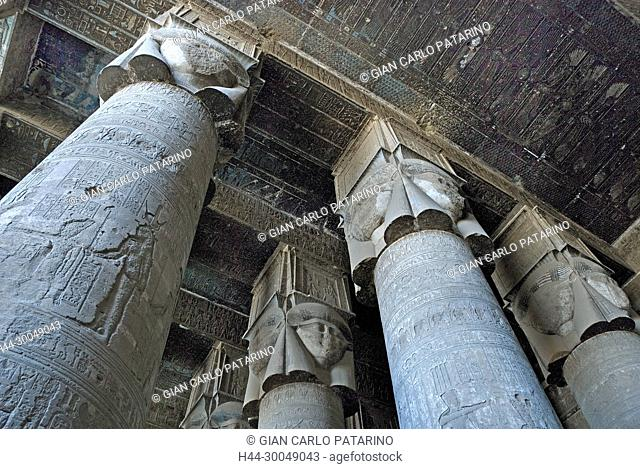 Egypt,Dendera,Ptolemaic temple of the goddess Hathor.View of an Hathoric capitol