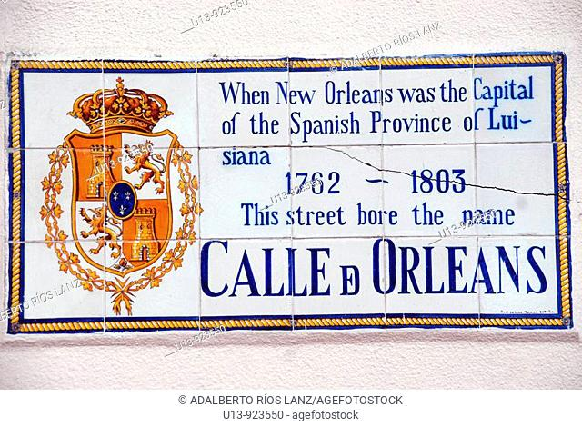 Traditional street tile sign in Orleans Street, French Quarter, New Orleans, Louisiana, USA