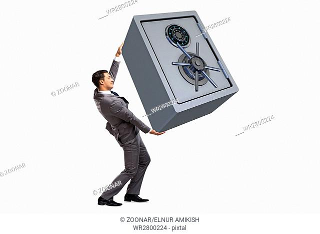 Businessman carrying safe isolated on white
