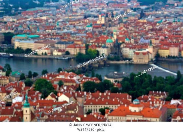 Blurred background of Prague, Czech Republic