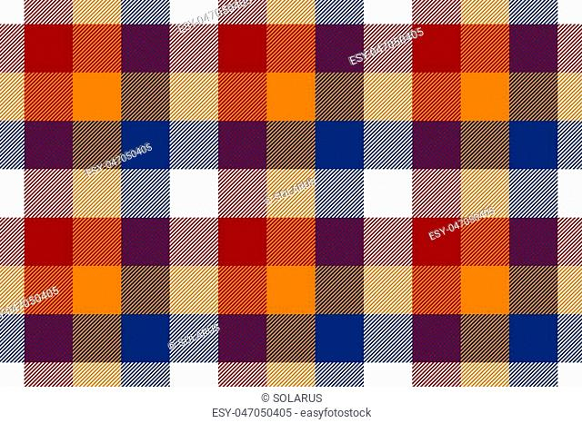 Colored check seamless fabric texture. Vector illustration. EPS10