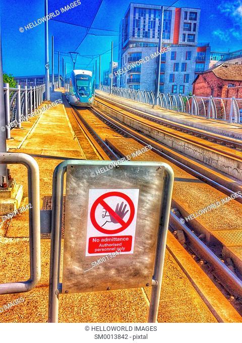 Tram, tracks and no admittance sign, Nottingham, Nottinghamshire, east Midlands, England