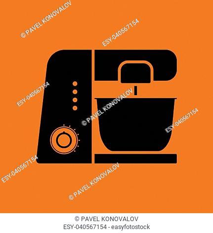 Kitchen food processor icon. Orange background with black. Vector illustration