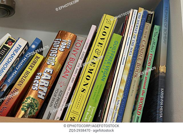 Close up of book collection on a shelf