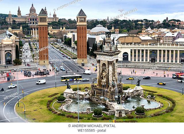 Plaza de España (Barcelona) to the Museum of Arts. Catalonia, Spain. Europe