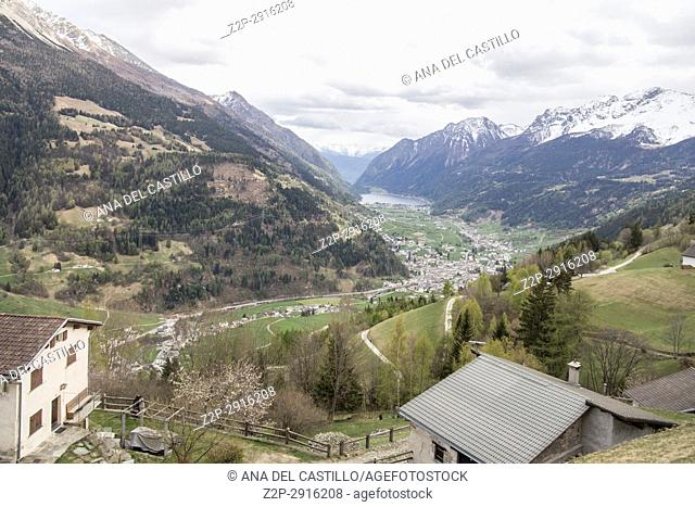 View of Switzerland landscape from the Bernina Express train on April 17, 2017