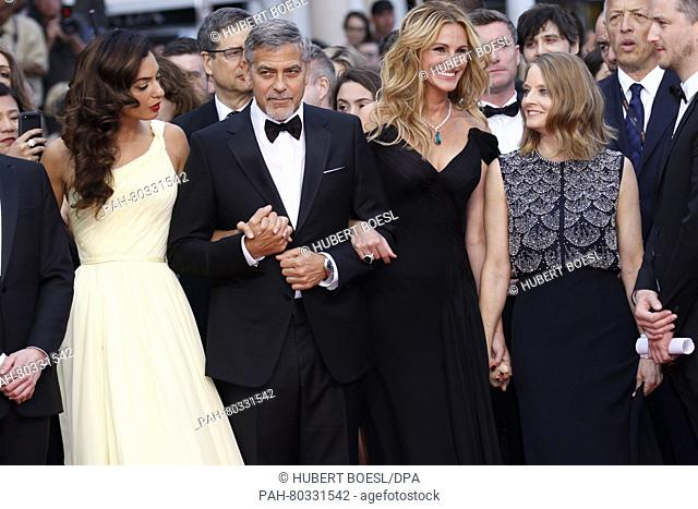 Amal Clooney (l-r), George Clooney, Julia Roberts and Jodie Foster attend the premiere of Money Monster during the 69th Annual Cannes Film Festival at Palais...