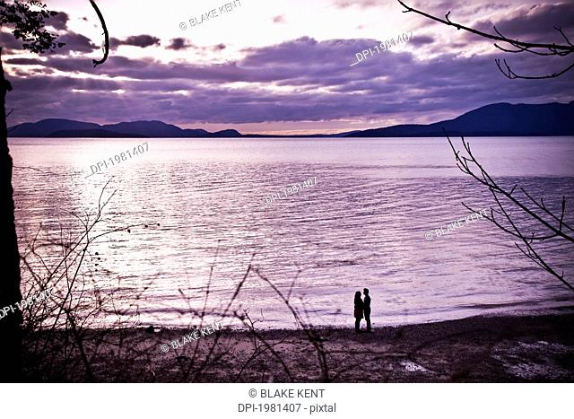 silhouette of a couple standing at the water's edge, bellingham washington united states of america
