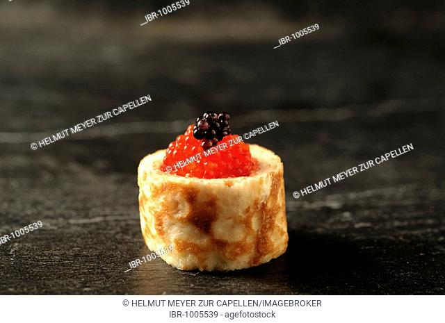 Apéro, crêpe with caviar, Haute Cuisine, Labaroche, Alsace, France, Europe