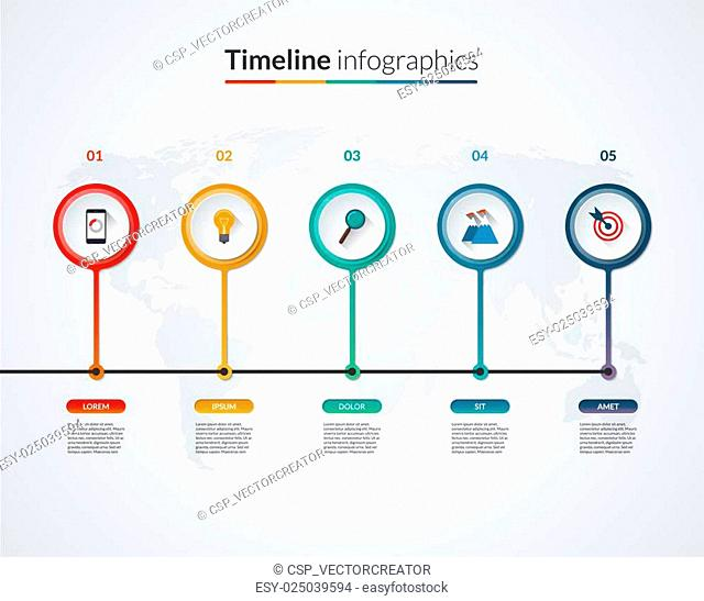 Timeline infographic template. Vector banner with 5 circles, bars, options