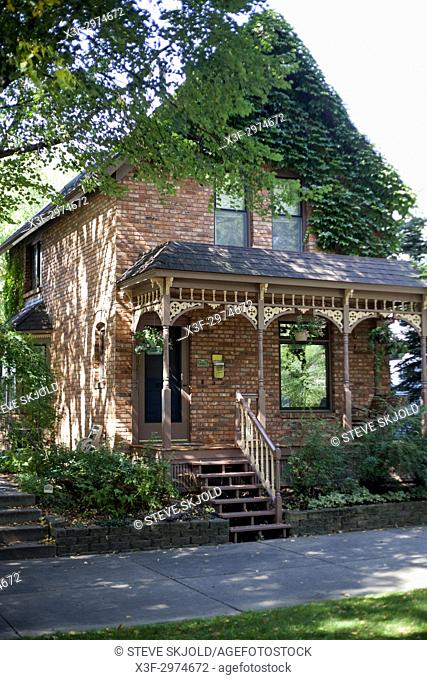 Historic refurbished Milwaukee Avenue brick home, built in the 1880's for low-income workers. Minneapolis Minnesota MN USA
