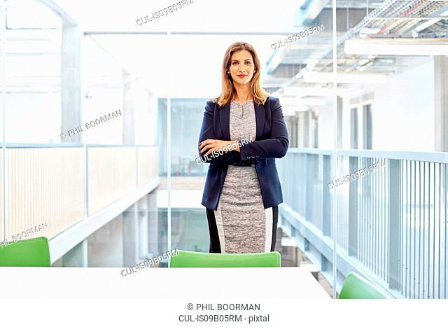 Portrait of businesswoman standing in office